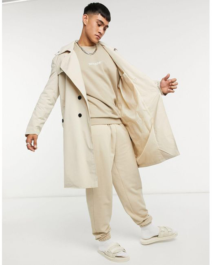 Men's Natural Classic Over Size Trench Coat