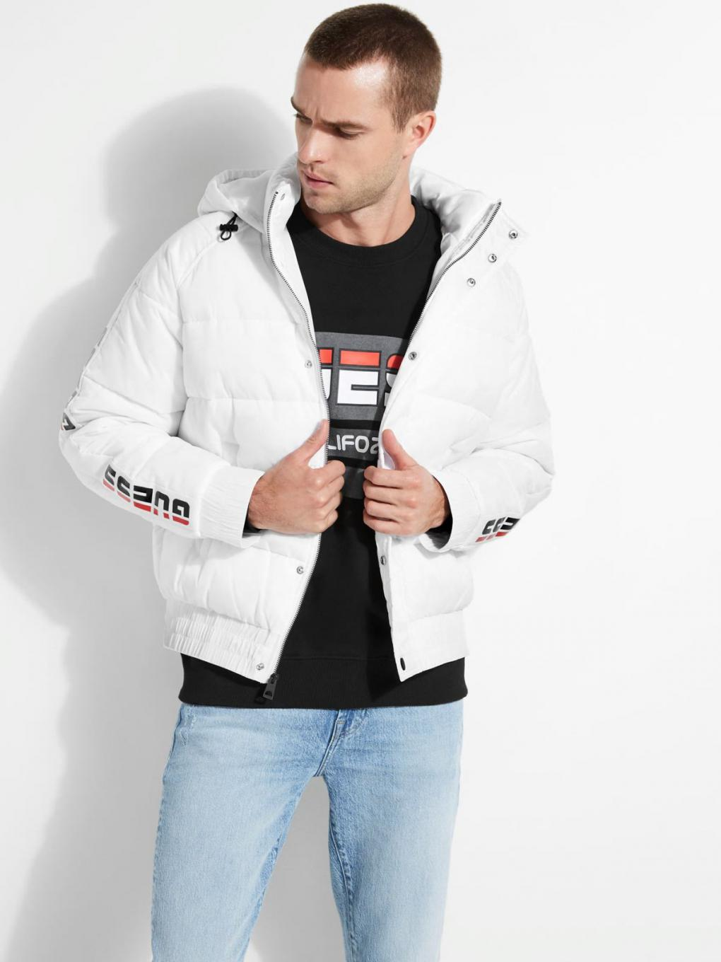 Mens New Wave Sport Puffer Jacket Pure White