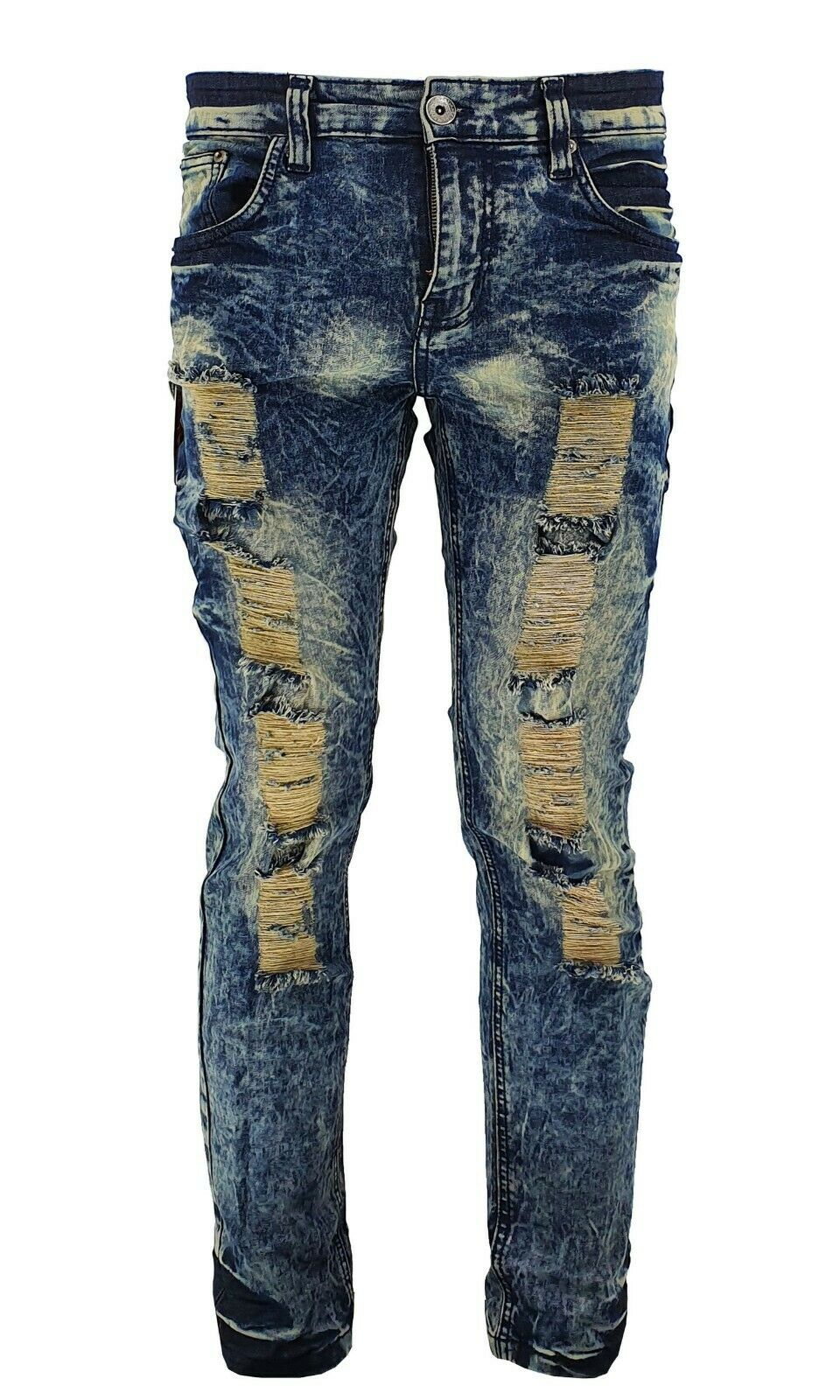 Mens Peviani Stretch Acid / ice Wash Slim Fit Ripped Distressed Denim Jeans
