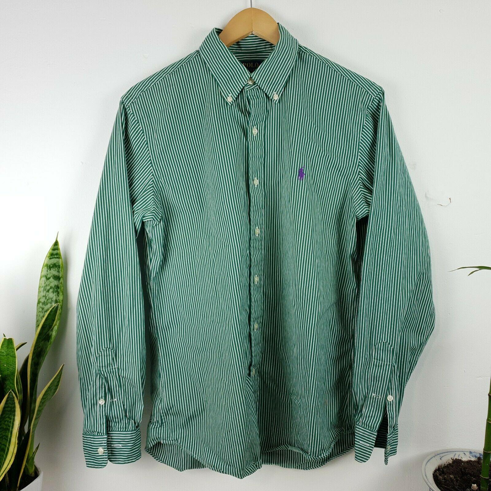 Mens Polo ralph lauren shirt Large green striped sleeved logo cust