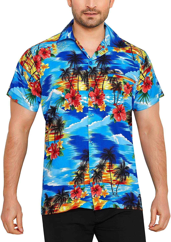 Men's Regular Fit Classic Short Sleeve Casual Floral Hawaiian Shirt
