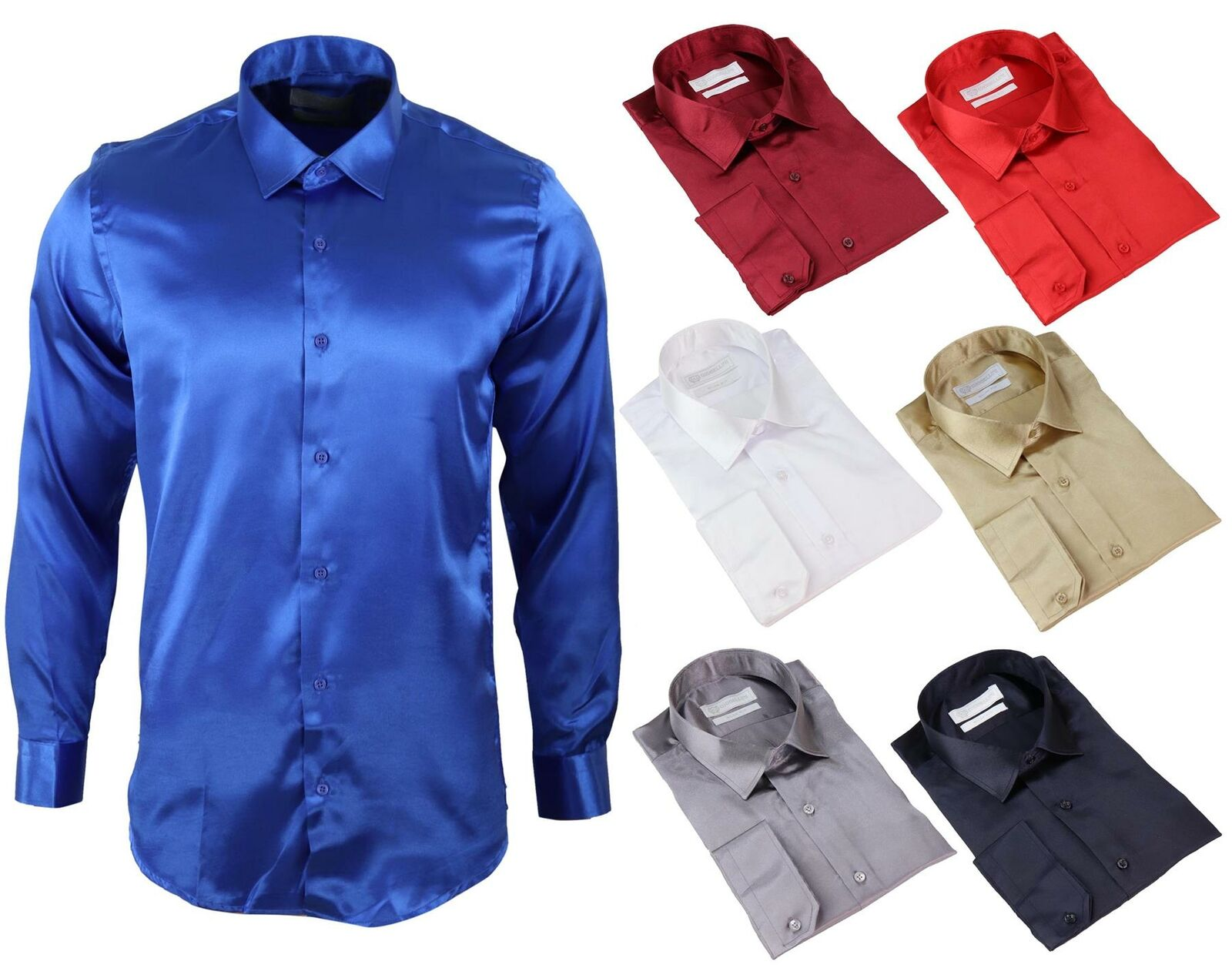 Men's Satin Silk Shirt Smart Casual Button Down Cuff Tailored Fit Shiny Party