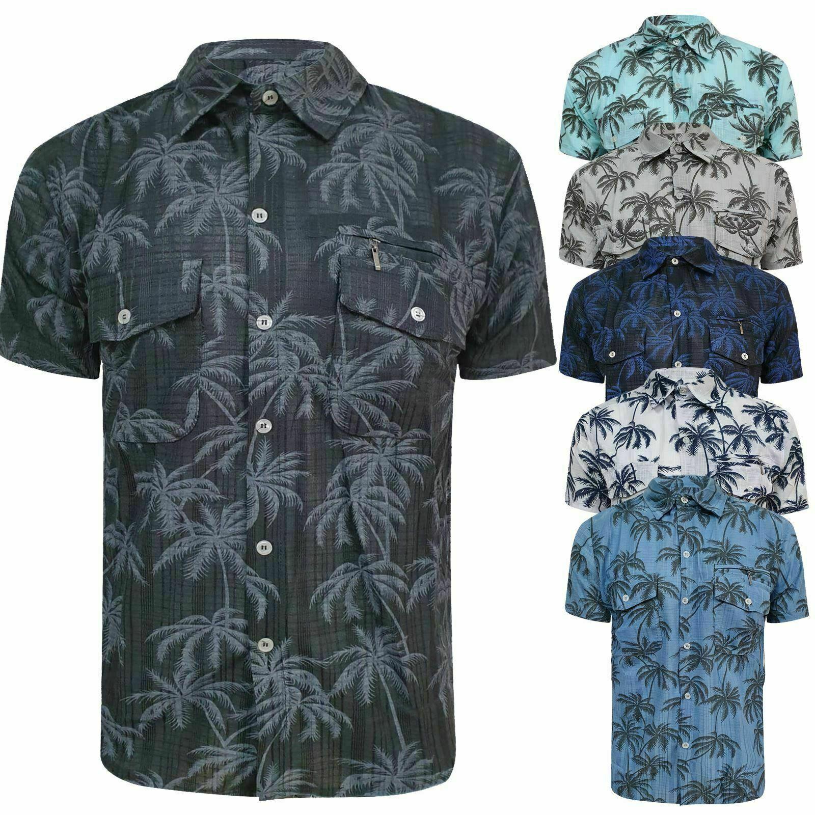 Mens Short Sleeve Palm Tree Hawaii Hawaiin Shirts Summer Beach Shirt Lightweight