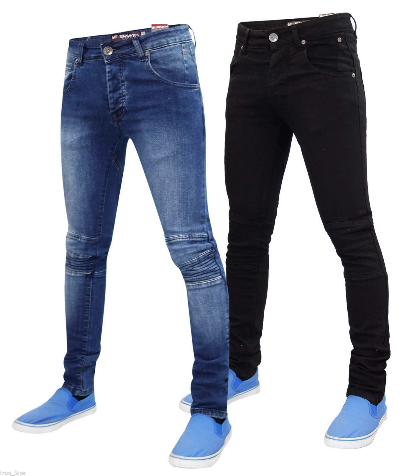 Mens Skinny Jeans Slim Fit Stretch Biker Denim Cotton Trousers Pants All Waist