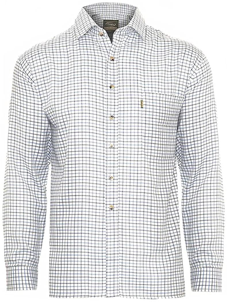 Mens Tattersall Shirt Long Sleeves Polycotton Fabric Checked Pattern Shirts