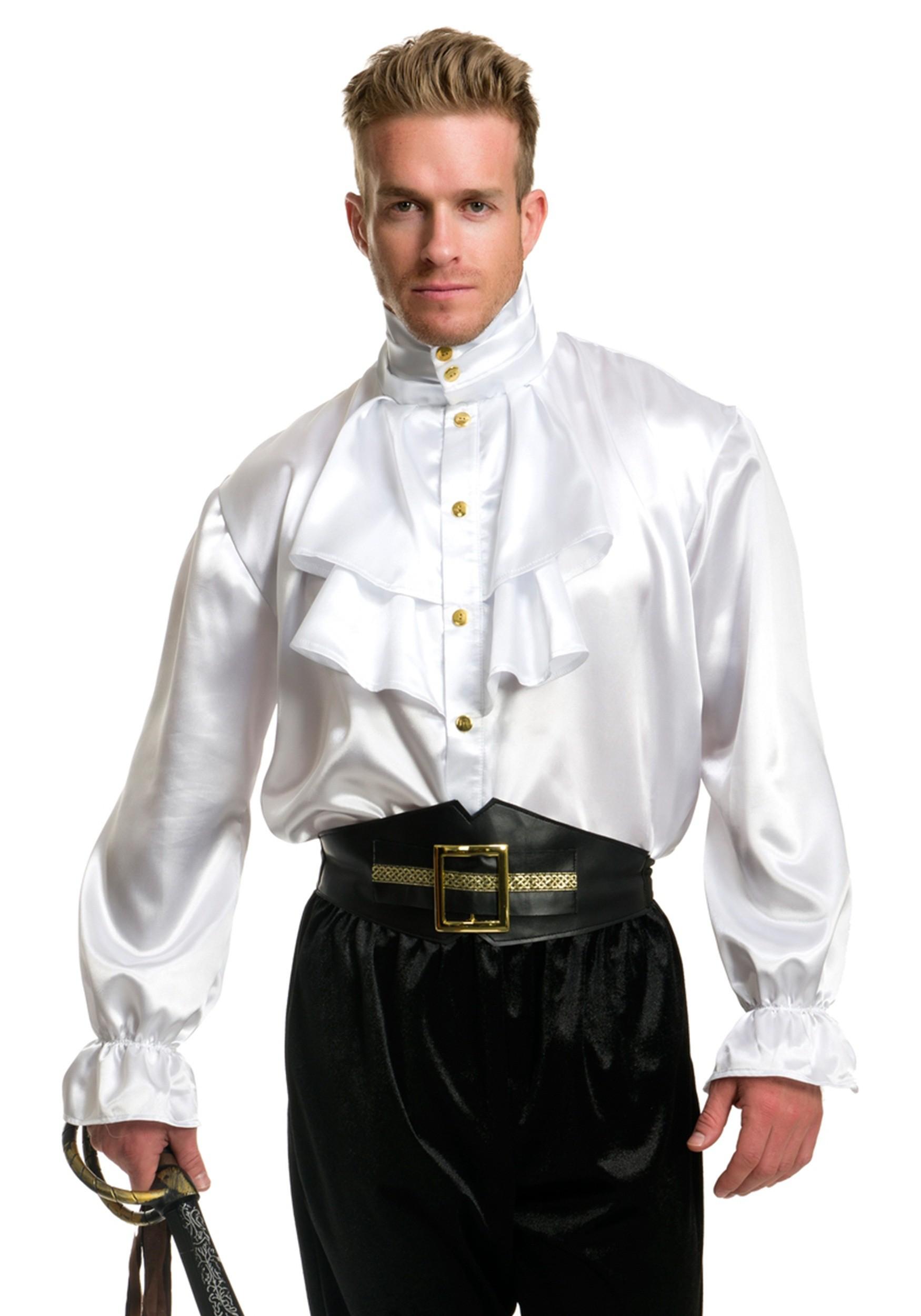 Men's White Satin Ruffle Shirt