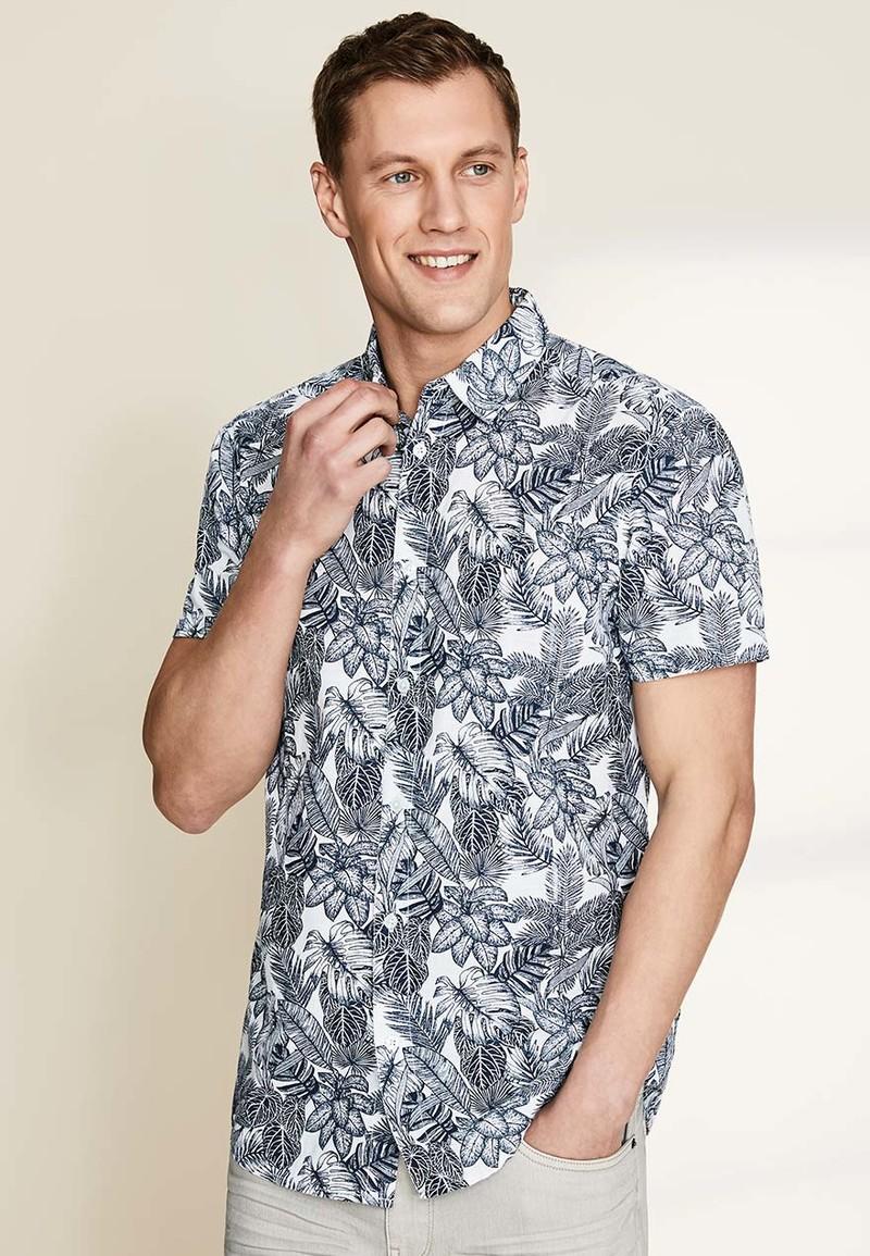 Mens White Short Sleeve Leaf Print Linen Shirt