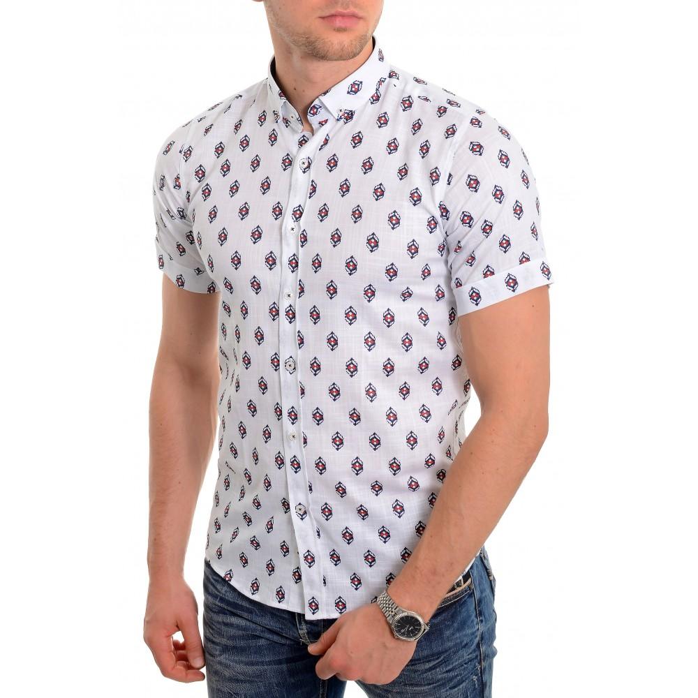 Men's casual summer shirt Soft Linen look Cotton Short Sleeve Diamond Pattern