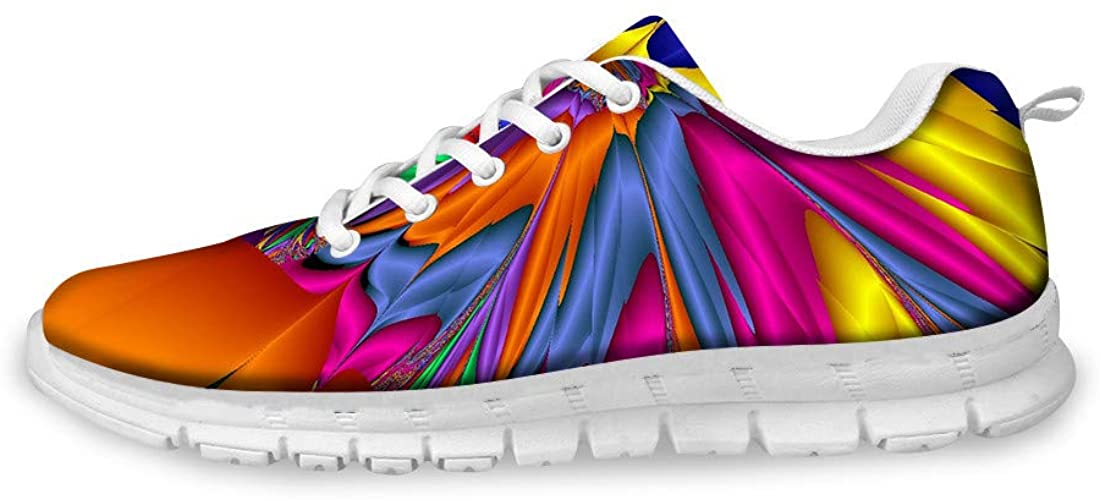 Men's running shoes, trainers, street running shoes, abstract rainbow coloured graffiti print, boys fashion sports shoes, fitness, breathable trainers