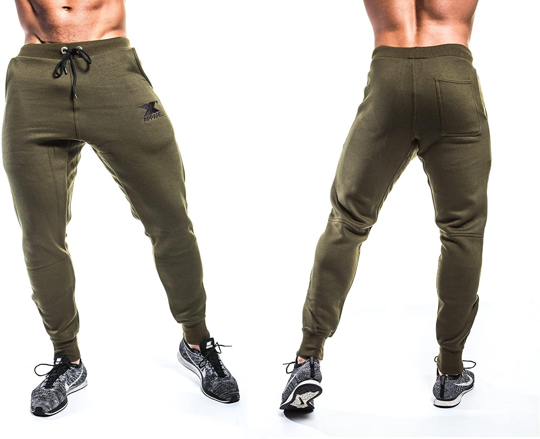 Met-X Mens New Slim Fit Tapperd In Track Suit Jogging Bottoms Training Pants Trousers Khaki Green Pants