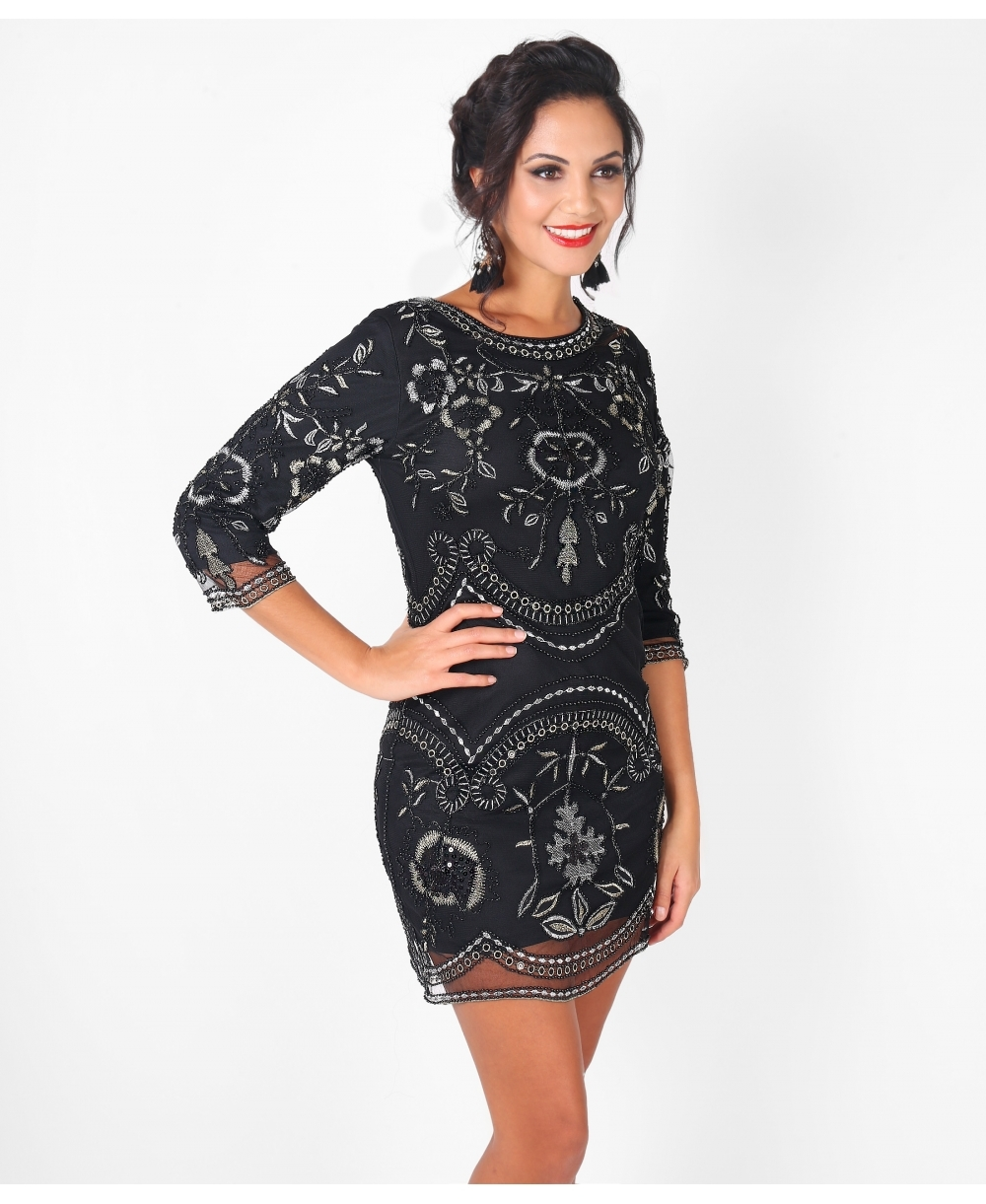 Metallic Embroidered Bodycon Party Dress