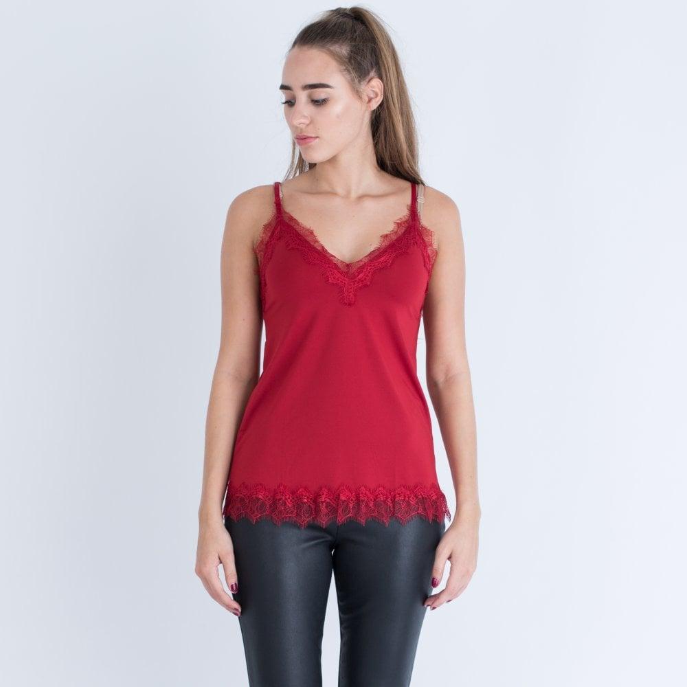 Metallic Lace Trim A Line Cami Dark Red
