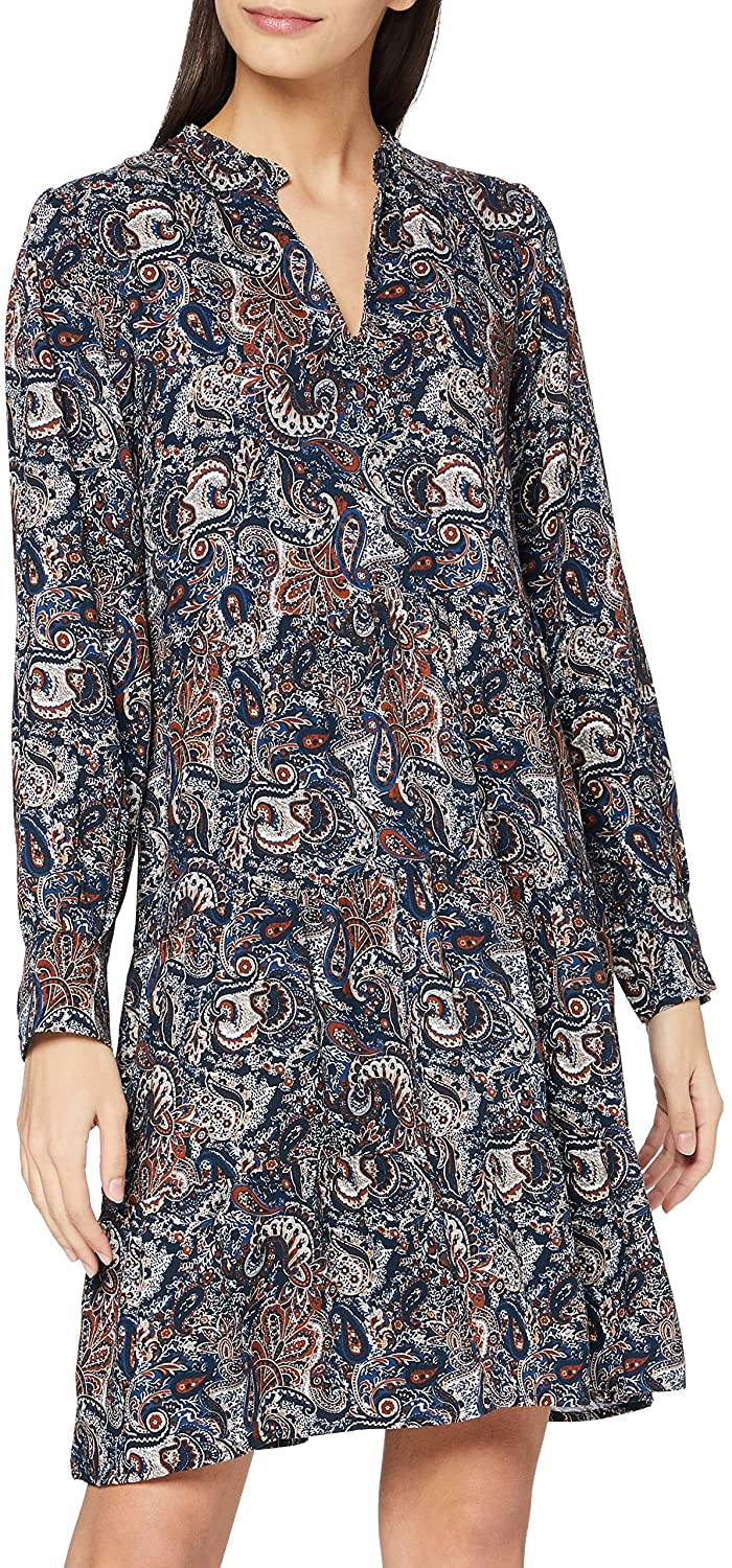 Mexx Women's Long Sleeve Paisley Printed Dress
