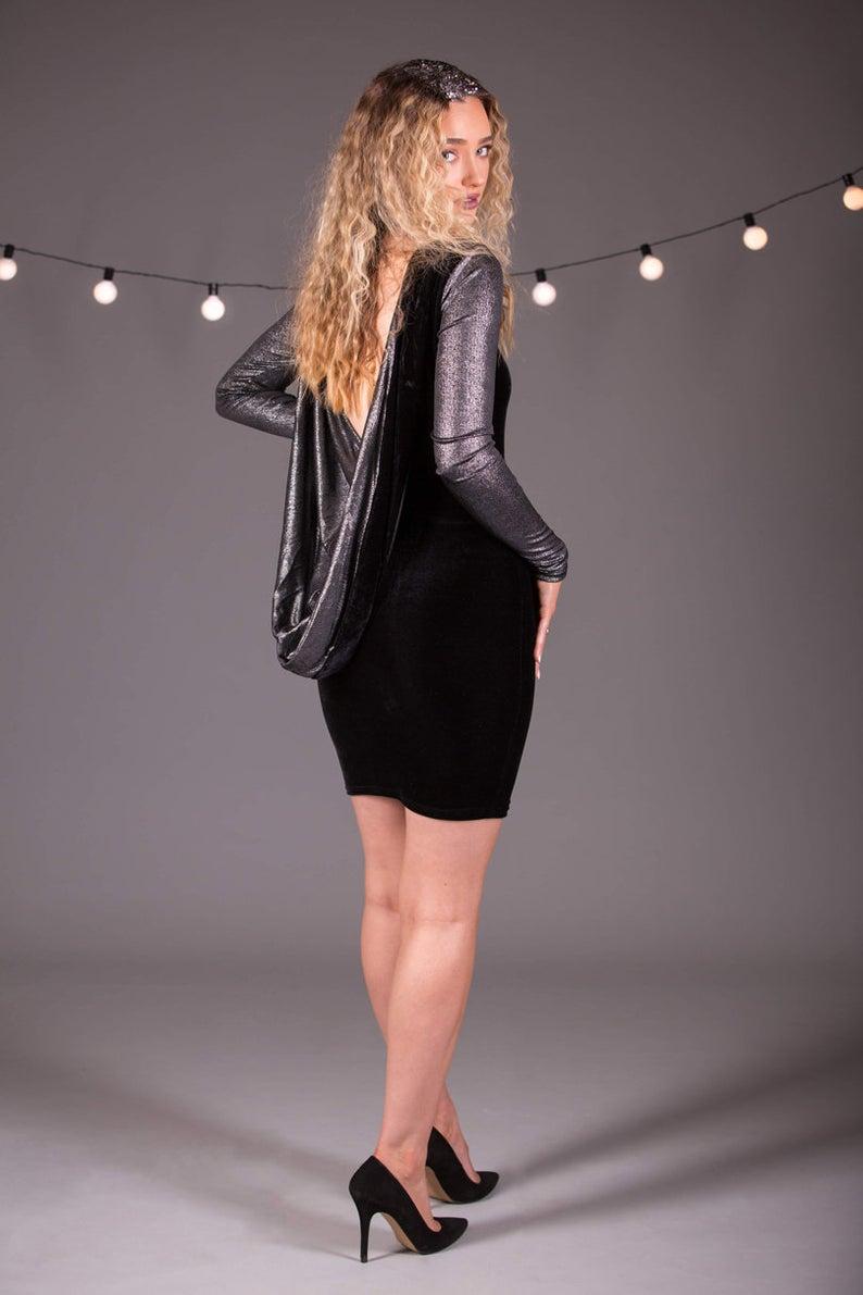 Mini Cowl Back Backless Long Sleeve Dress in Black