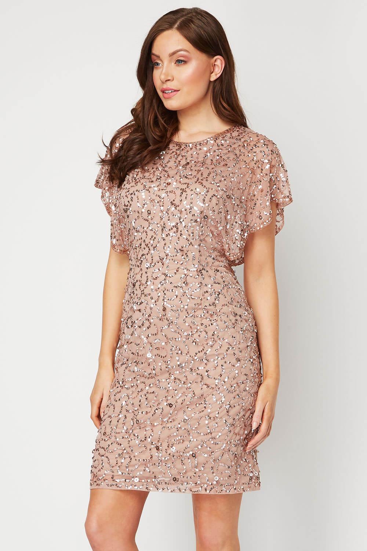 Mink Sequin Embellished Angel Sleeve Dress