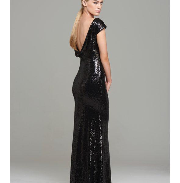 Miss Blush Black Cowl Back Sequinned Prom Formal Dress