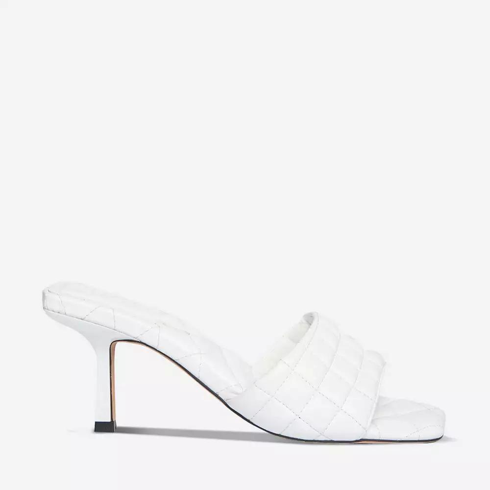 Miss Selfridge - White Sleek Quilted Heeled Mules