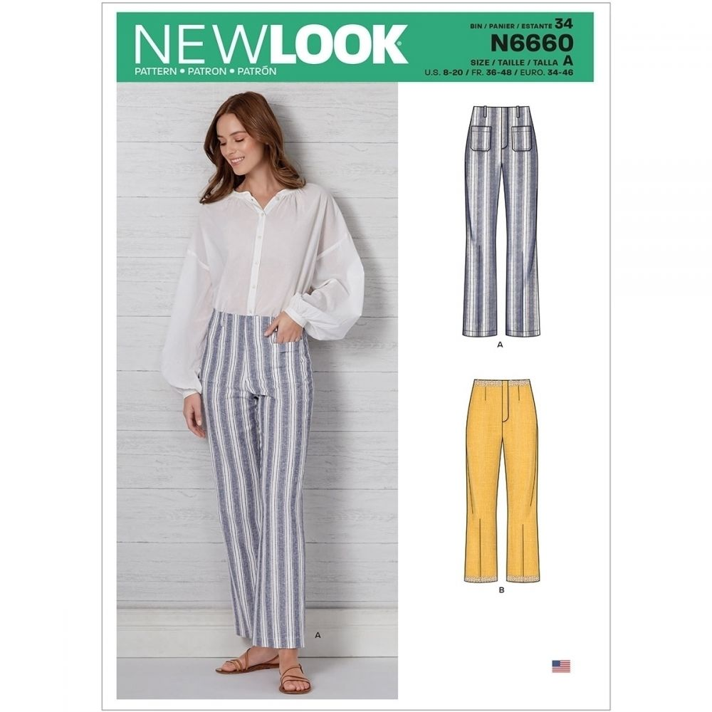 Misses High Waisted Flared Trousers in Two Lengths New Look Sewing Pattern 6660. Size 8-20.