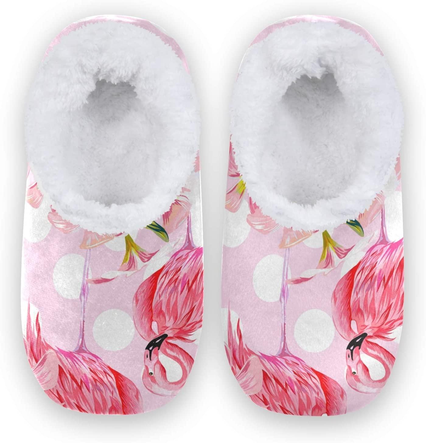 Mnsruu Pink Flamingo Polka Dot House Slippers