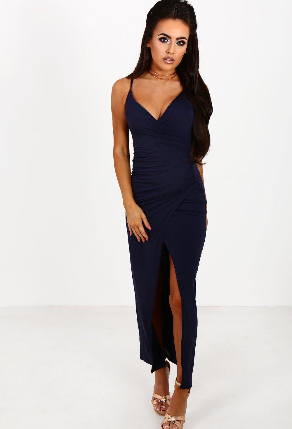Mysterious Girl Navy Slinky Wrap Front Maxi Dress