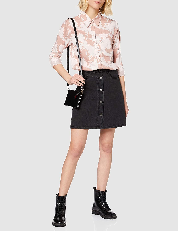 Name It Women's Nmsunny Short DNM Skater Skirt Blck Noos