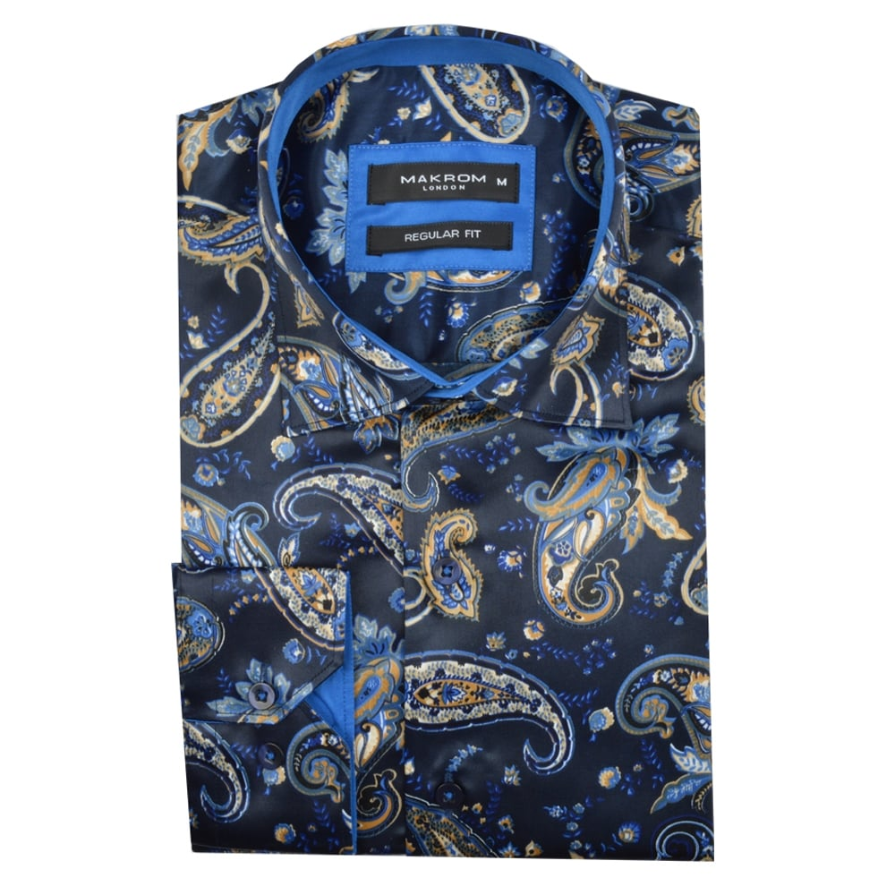 Navy Satin Paisley Patterned Men's Shirt