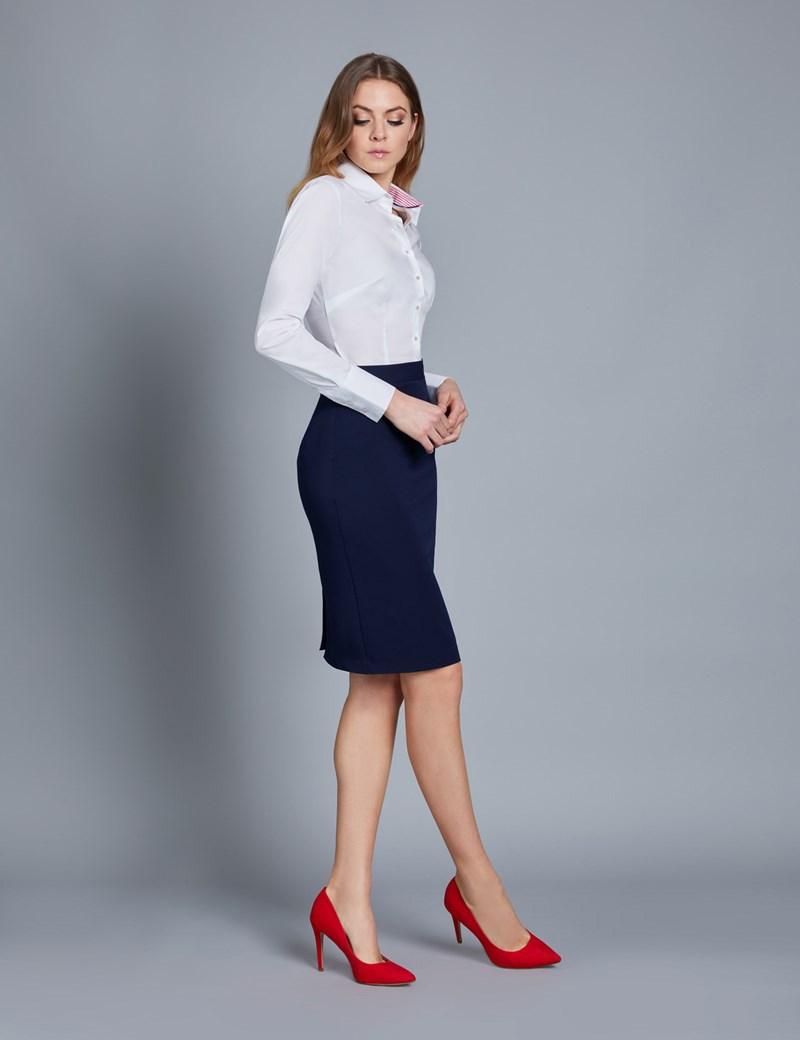 Navy Stretch Twill Pencil Skirt