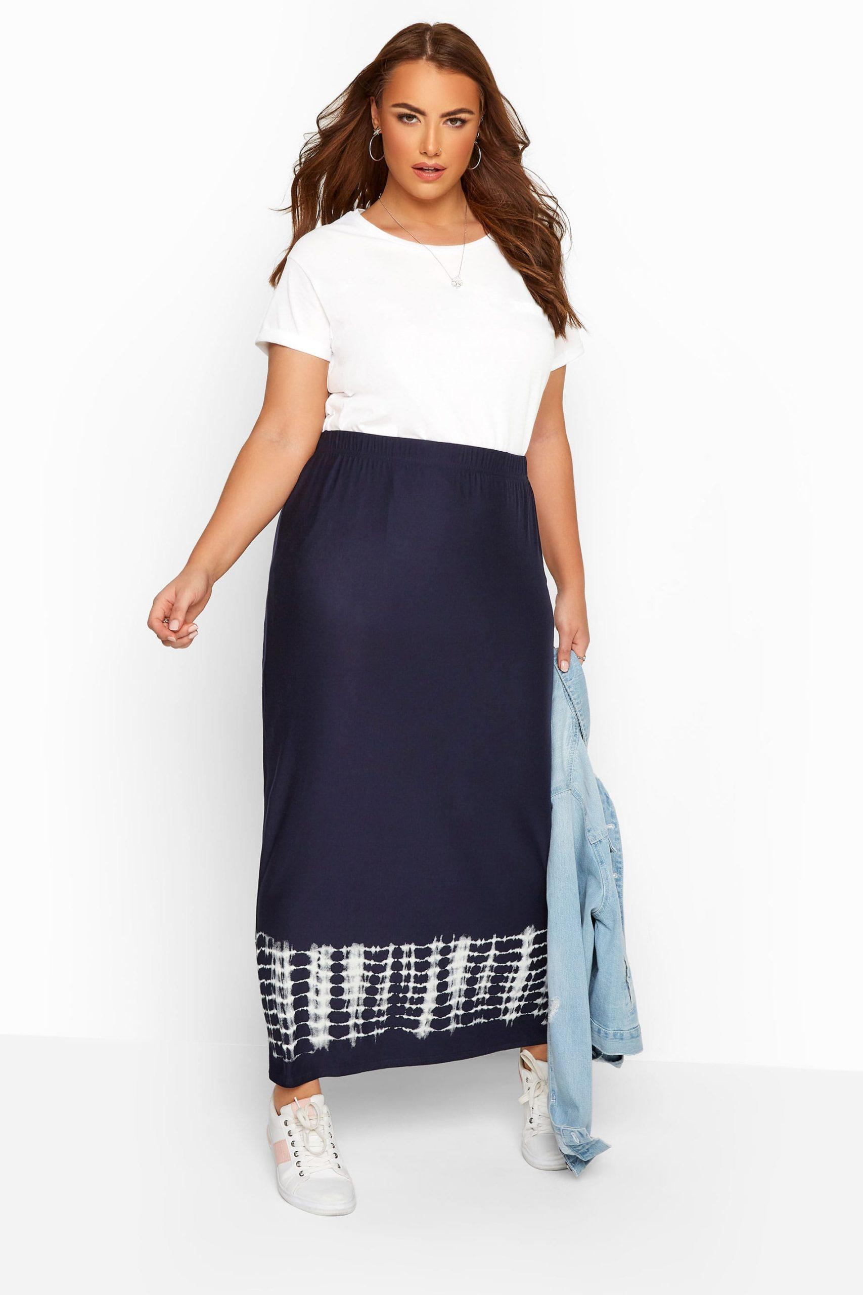 Navy Tie Dye Border Tube Skirt