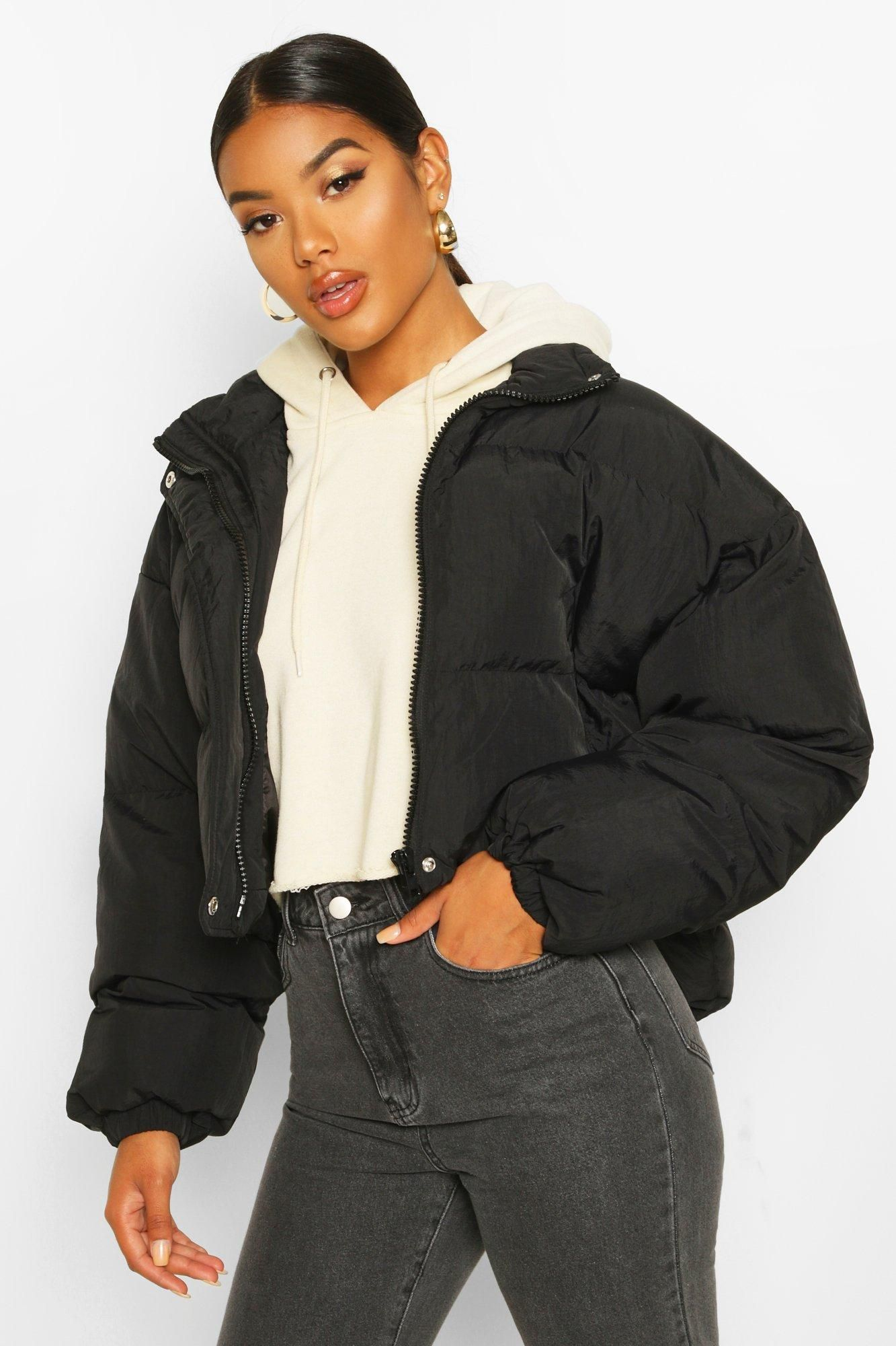 Neck Cropped Puffer Jacket