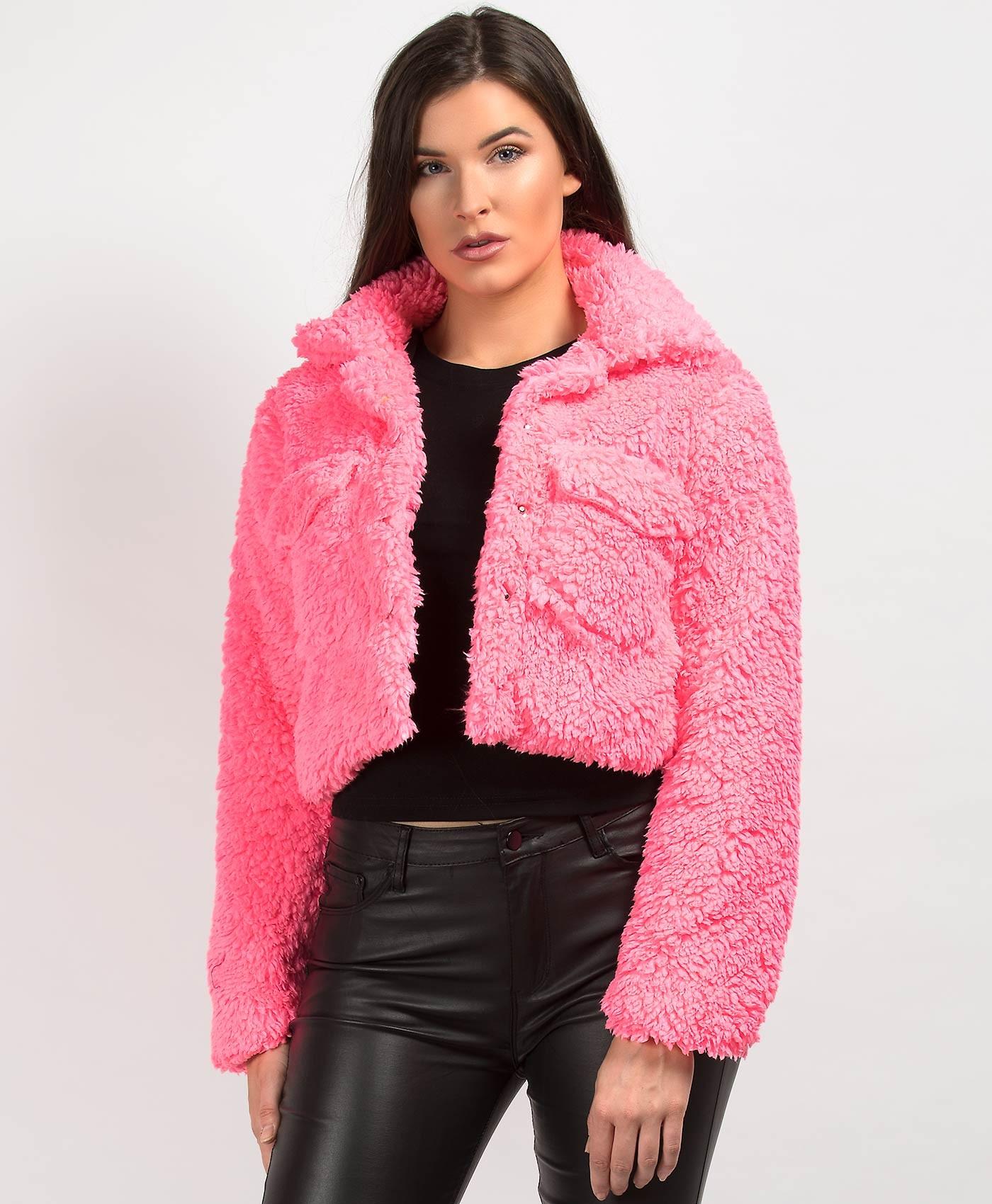 Neon Pink Teddy Fur Cropped Borg Trucker Jacket