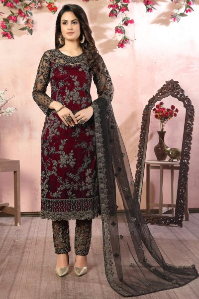 Net Fabric Maroon Color Embroidery Work Salwar Suit