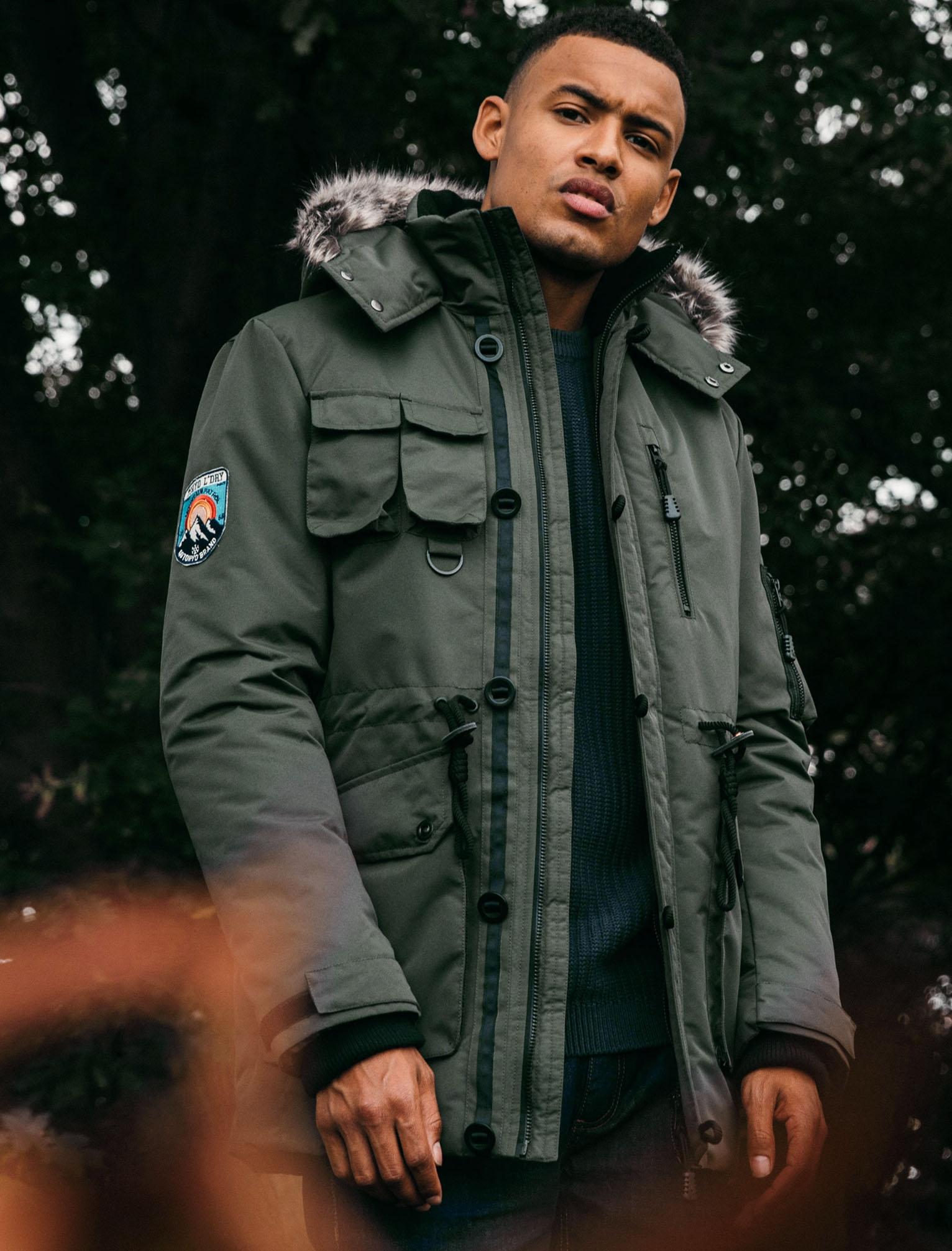 New Mens Tokyo Laundry Drayton Khaki Utility Fur Hooded Parka Coat Size S - XL