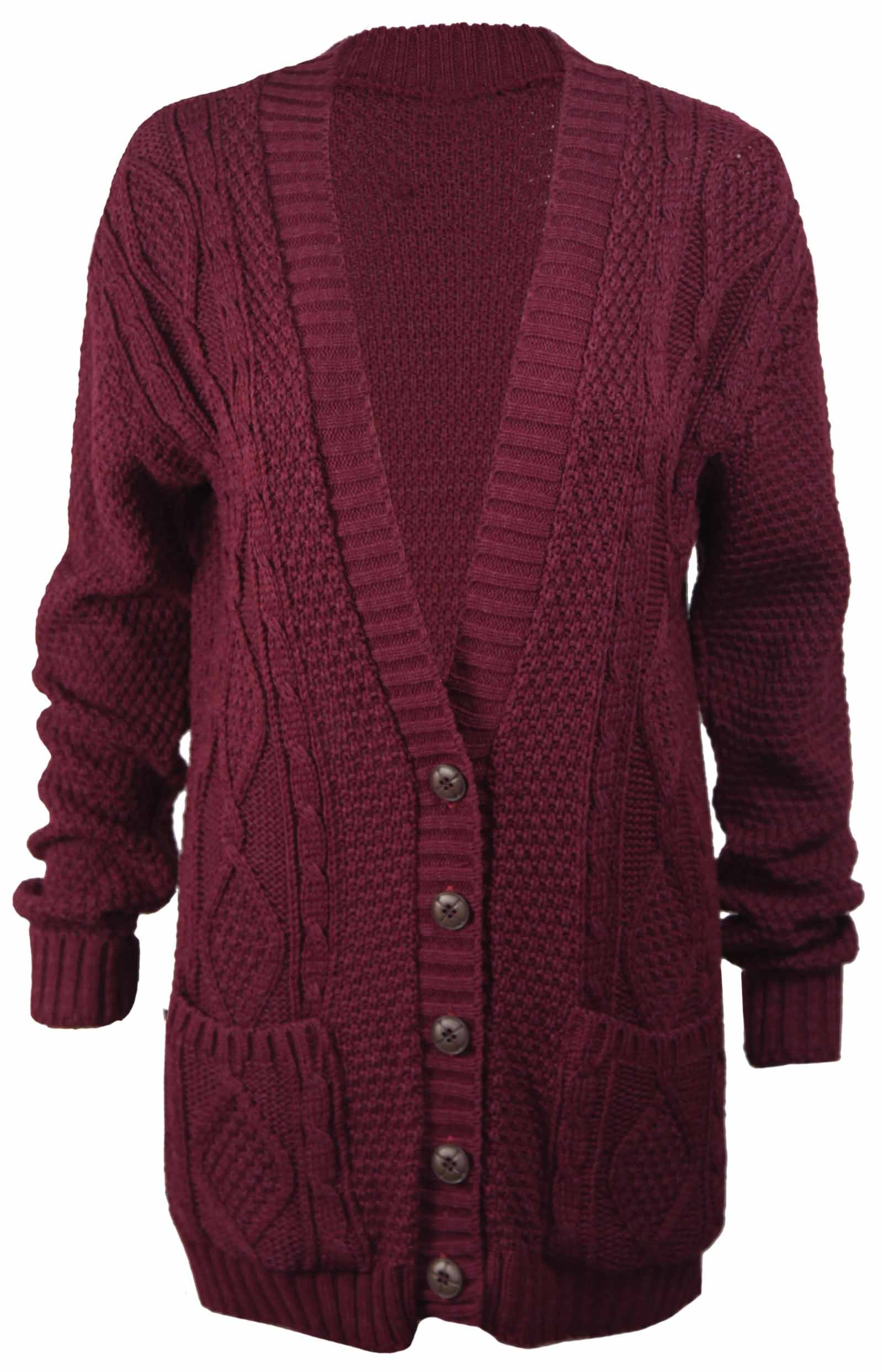 New Womens Everyday Long Sleeve Button Top Ladies Chunky Aran Cable Knit Grandad Cardigan