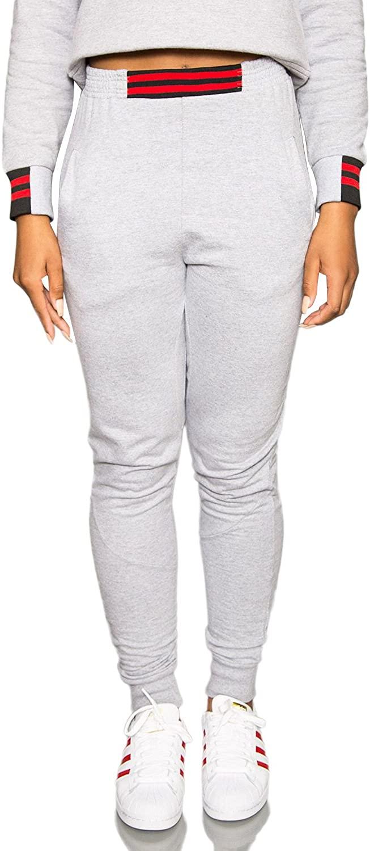 Nicce London High Waist Joggers - Cuffed Sweatpants - Women - Grey