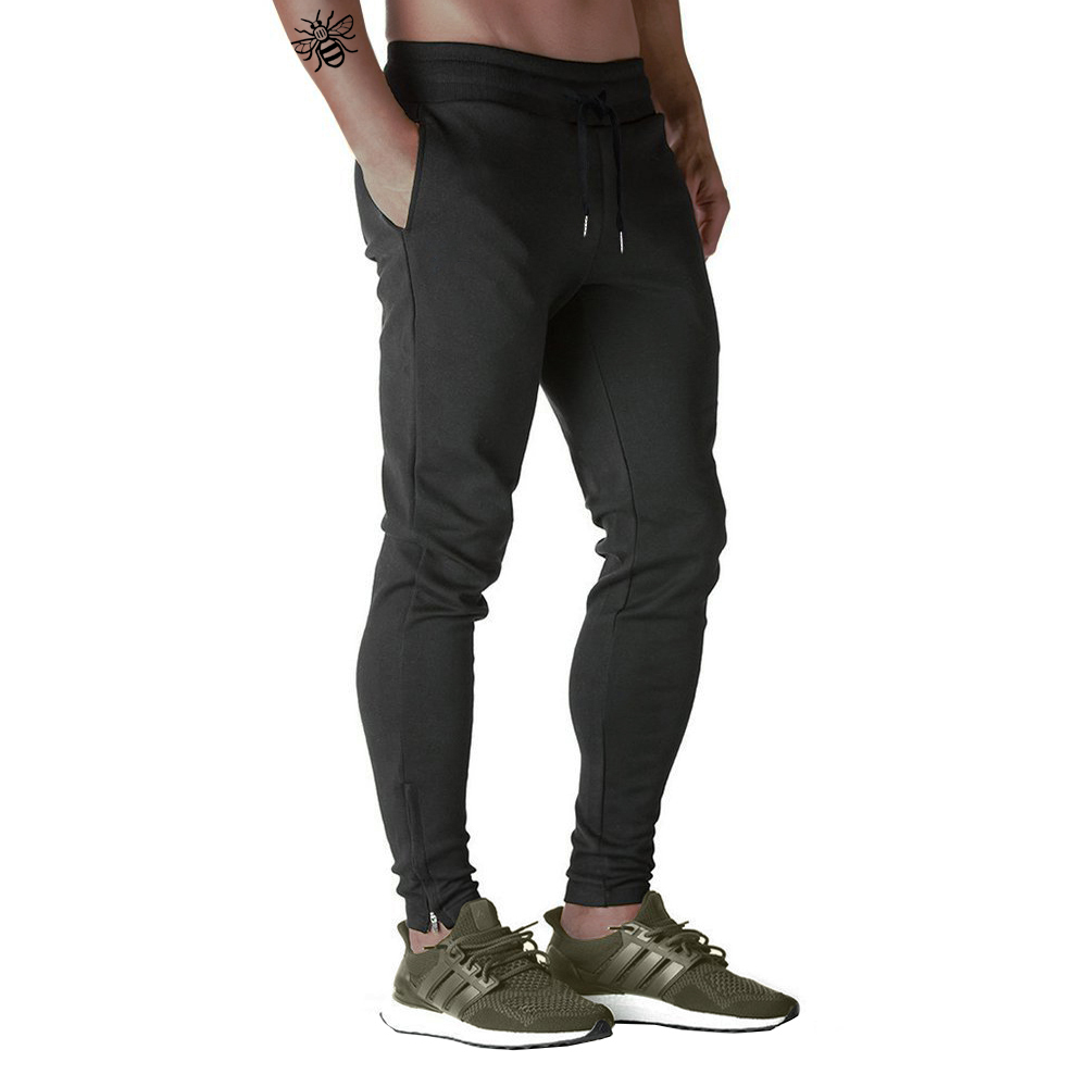 Nikaro Mens Black Athletic Slim Fit Jogger Gym Sweat Pants Tracksuit Bottoms