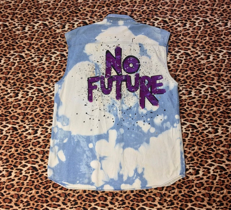 No Future reworked acid wash Denim Shirt