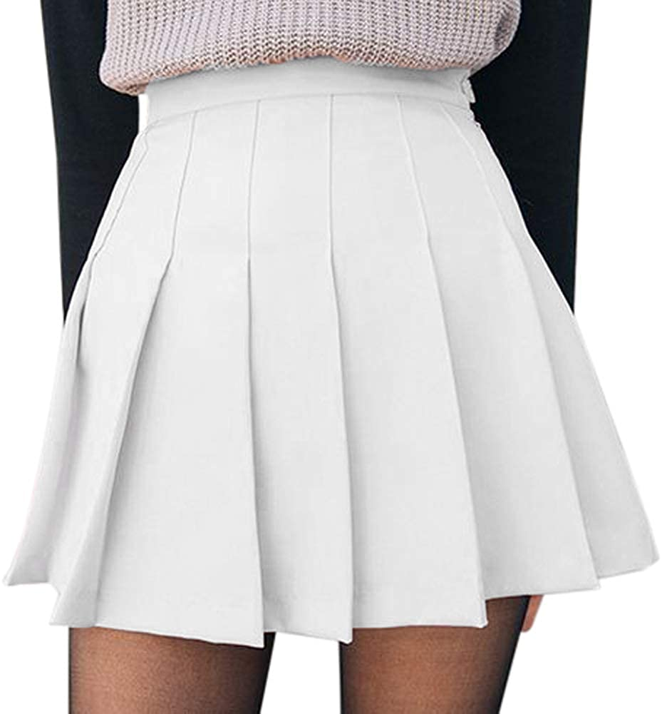None Branded Women Girls Short High Waist Pleated Skater Tennis School Skirt