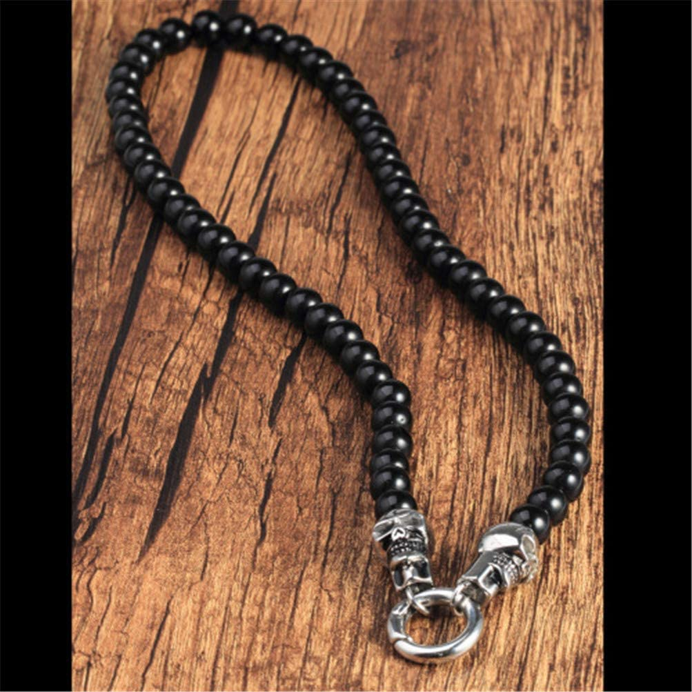 OAKKY Mens Black Onyx Beads Necklace for Pendant, Stainless Steel Skulls Round Clasp