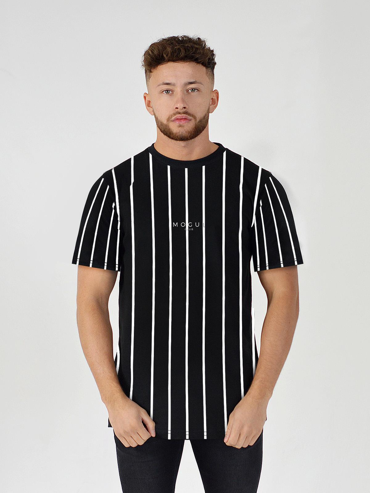 OVERSIZED STRIPE T-SHIRT BLACK