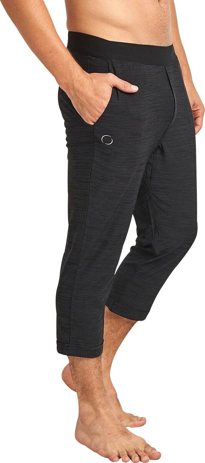 Ohmme Namoustache 3/4 Capri Mens Yoga Pants - Black