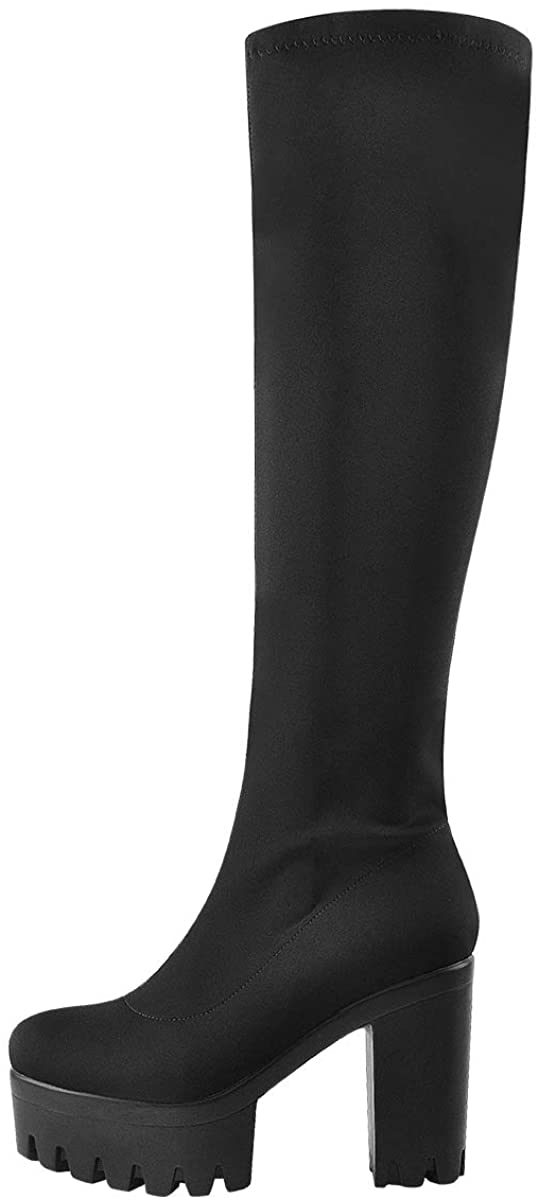 Only maker Over The Knee High Platform Boots Side Zipper Round Toe Chunky Heels Stretchy Elastic Autum Booties