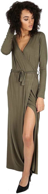 Oops Outlet Womens Dresses Ladies Long Sleeve Sash Tie Belt Wrap Front Slit Maxi Knot Party V Plunge Neck Top Plus Size UK 8-26