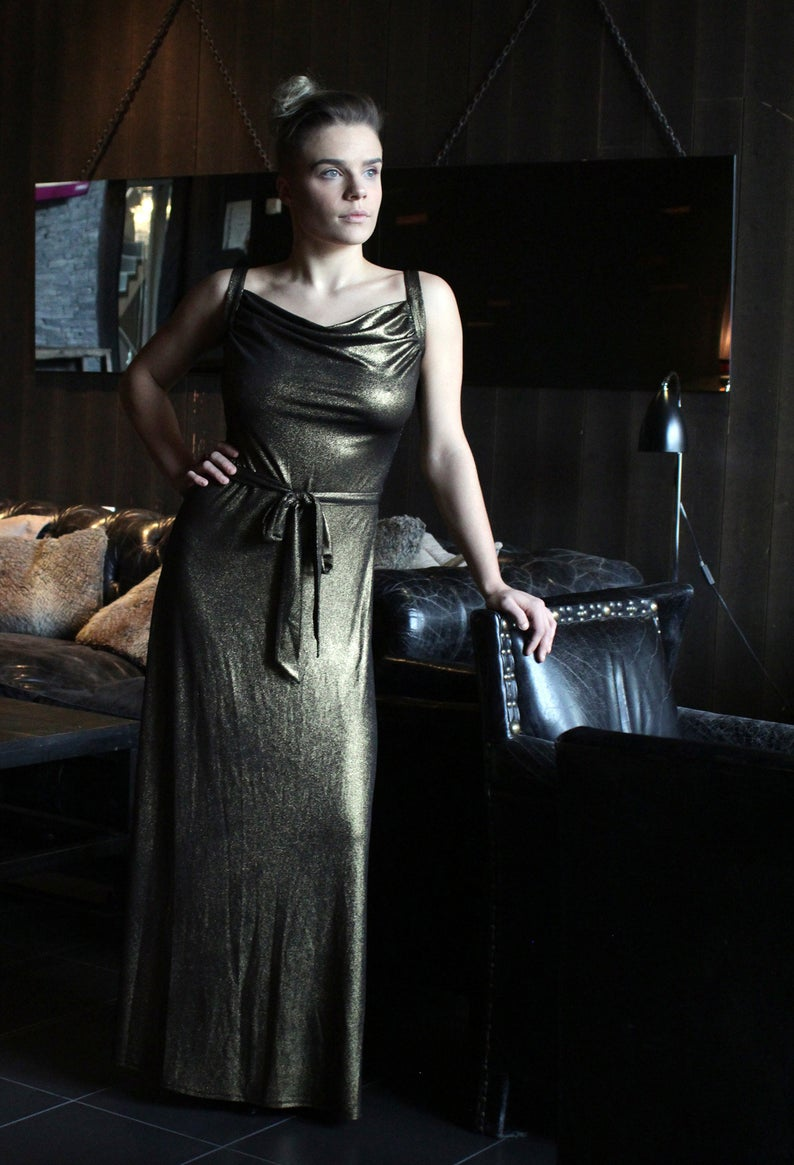 Original design by Paczula, metallic gold evening dress, backless maxi, cowl neck, red carpet dress, sexy party dress, New Years Eve outfit.