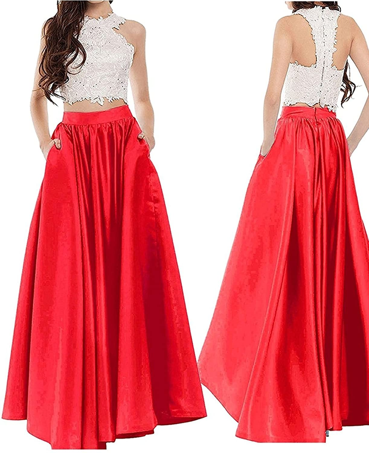 Outgoings Women's Long Skirt Satin High Waist A-line Maxi Prom Party Skirt with Pockets