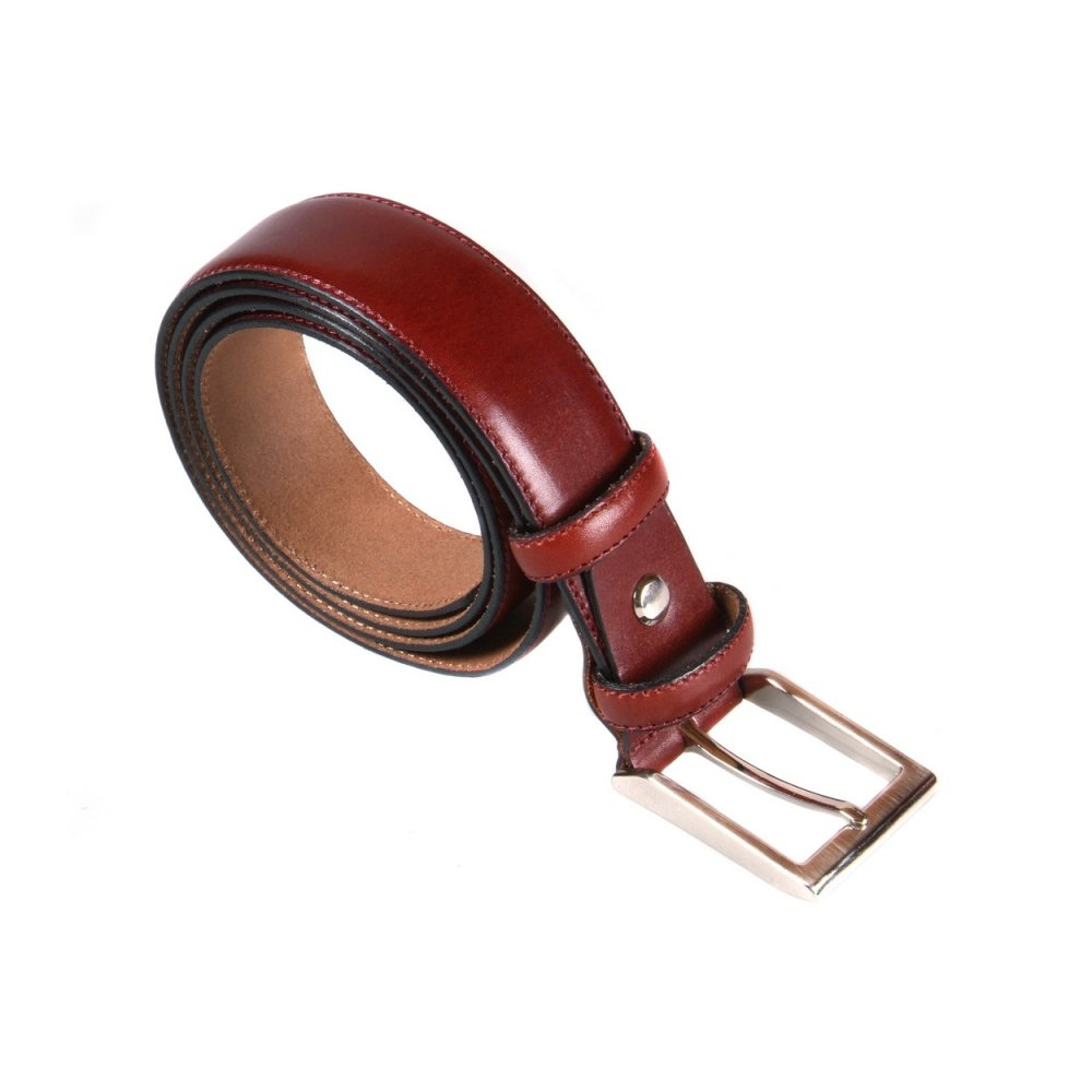 Dark Tan Leather Belt With Silver Buckle