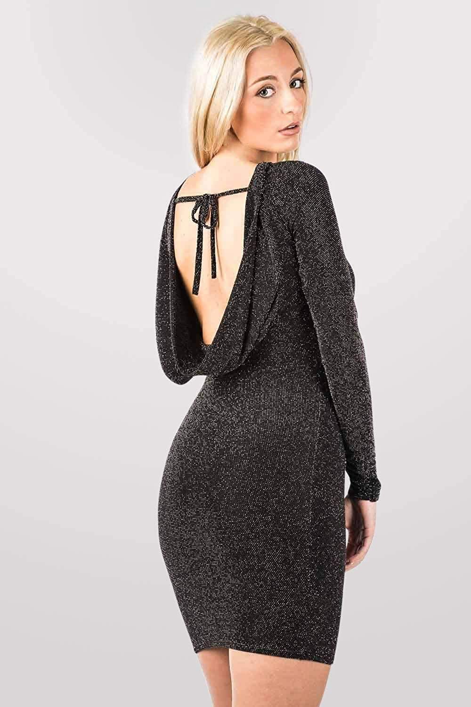 PILOT Women's Plain Black Lurex Long Sleeve Cowl Back Bodycon Mini Dress in Black