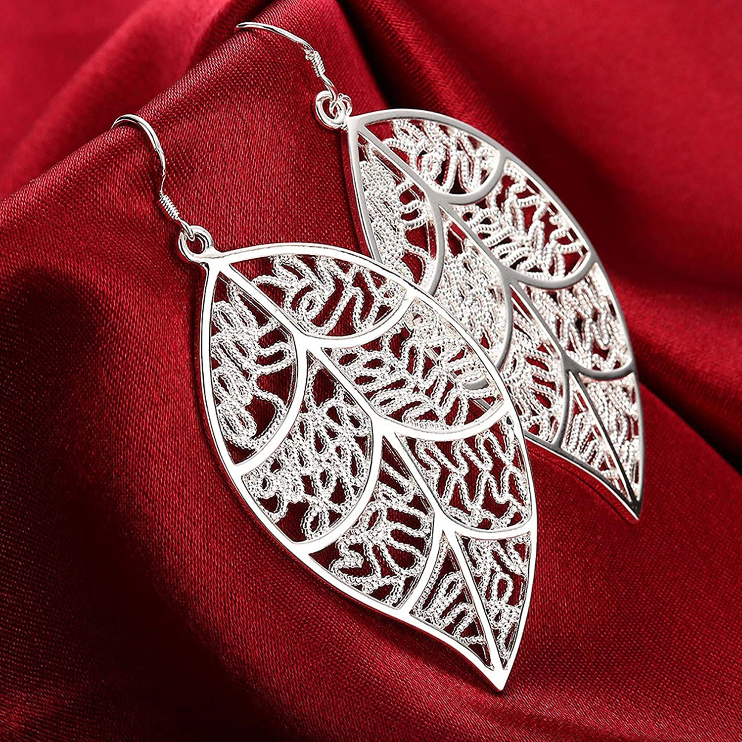 PMANY 925 Sterling Silver Plated Back Earrings,Textured Lace Leaf Dangle Earrings,for Women Girls(White/1 Pair)