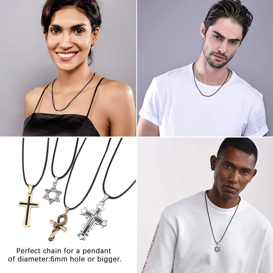 PROSTEEL Men Black Braided Leather Necklace, with 316L Stainless Steel Clasp, Wax Rope Necklace Jewelry