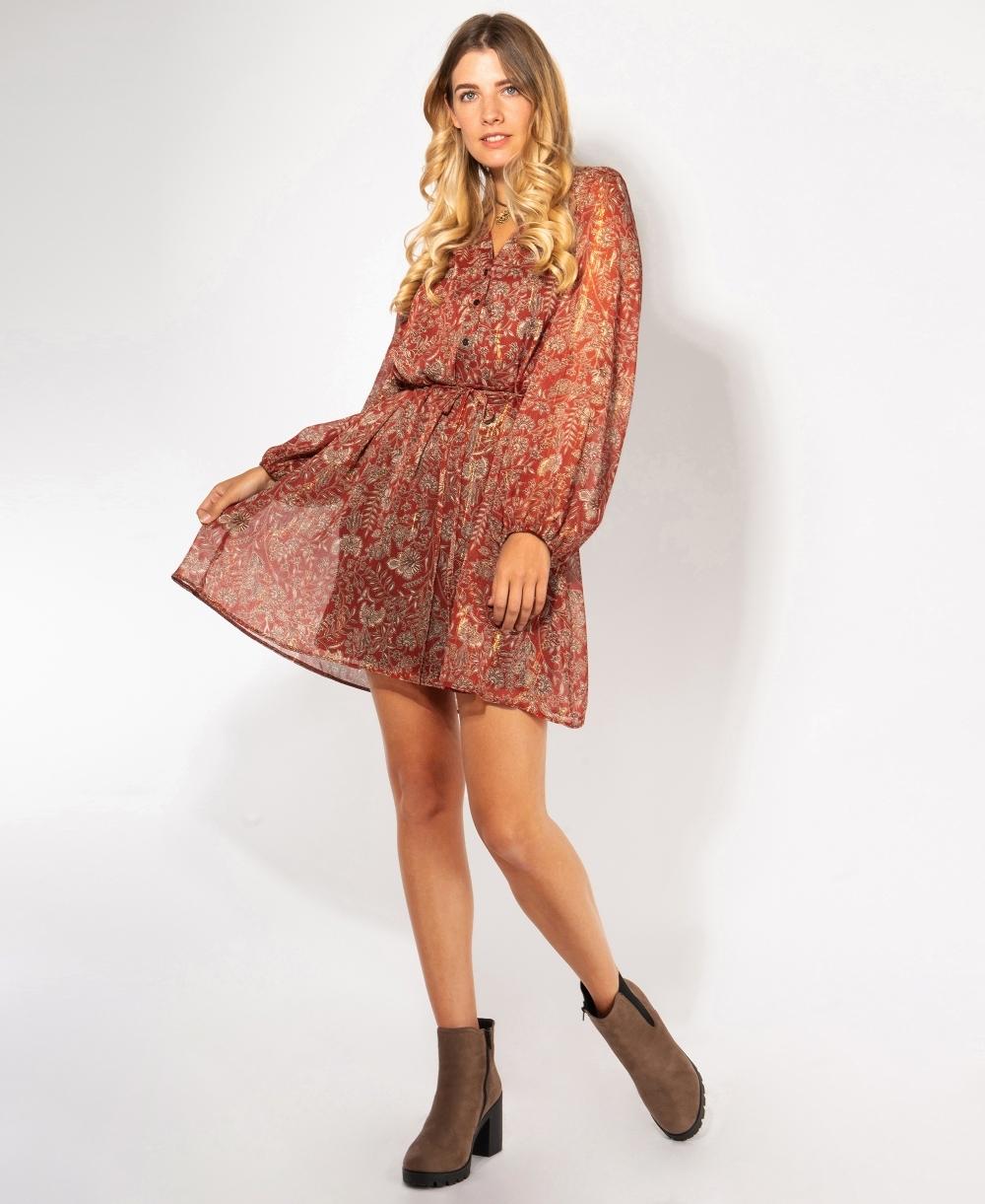 Paisley Lurex Print Long Sleeve Dress