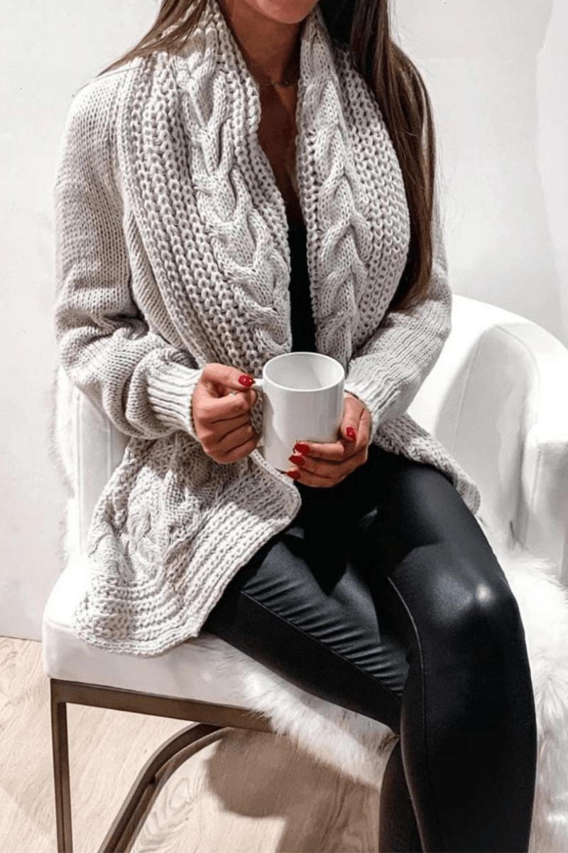 Parisian Ladies Chunky Cable Knit Shawl Cardigan – Grey £17.50